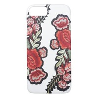 Embroidered rose patch red roses embroidery iPhone 7 case