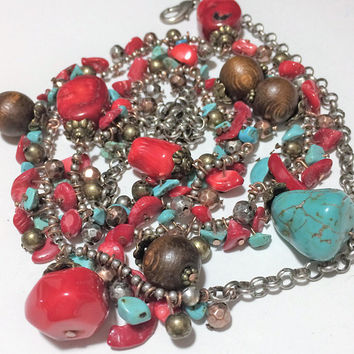 Turquoise Dyed Red Coral Necklace Dangling Beads Boho Festival Design Silver Tone Beads Southwestern Style 418