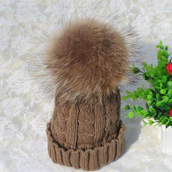 BomHCS Luxurious Fashion Women's Thick Warm Cable Handmade Knit Beanie Hat with Soft Big Fur Pom Pom