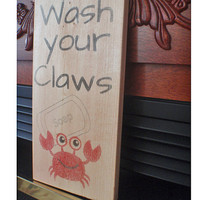 Crab sign, beach sign, home decor, bathroom sign, wooden crab signs, crab signs, nautical decor, Wash Your Claws, FREE SHIPPING