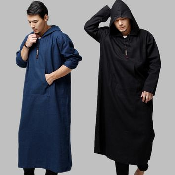 2017 Chinese Style Linen cotton Trench Coat Men spring Long Hooded Long Robes Men's Hooded Cardigans Coat 060603