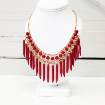 Red stone spindle Necklace