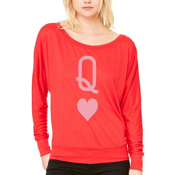 Queen of hearts WOMEN'S FLOWY LONG SLEEVE OFF SHOULDER TEE