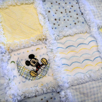 Baby Quilt:  Mickey Baby Blanket, Crib Bedding, Baby Bedding, Nursery Quilt