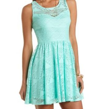 Geometric Lace Skater Dress by Charlotte Russe - Mint