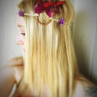 Feather Head band,boho,hair jewelry,jute jewelry,Indian style,ethnic,tribal,wedding accessory,bridesmaid hair jewelry,dreamcatcher hair