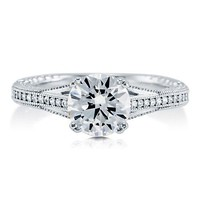Round Cut Cubic Zirconia CZ 925 Sterling Silver Solitaire Ring 1.67 Ct #r505-cl