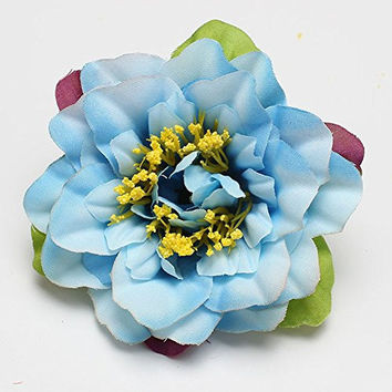 Floral Fall Hawaii Orchid Hair Clips Pin up Flower Brooch for Beach Party F-23 (Blue)