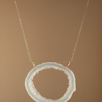 Crystal necklace  geode necklace  raw crystal necklace by BubuRuby