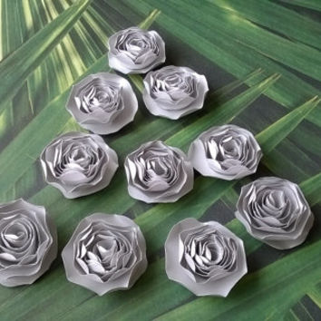 metallic silver dahlia paper flowers Roses Loose table decoration wedding Bridal Shower Decor home decor Baby nursery party decoration