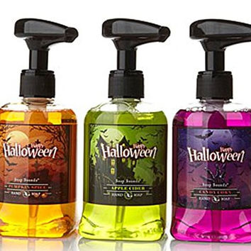 Halloween Set of 3 Scented & Musical Soap Pumps Green, Orange & Purple!