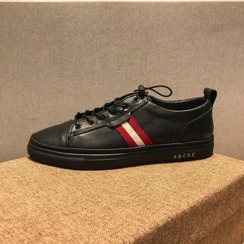 Bally Helvio Men's Leather Trainer In Black Sneakers Shoes Sale