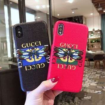 """""""Gucci"""" Fashion Embroidery Dragonfly Letter Print iPhoneX/8/6S Hard Phone Case Apple iPhone7 Plus Women Leather Phone Shell"""