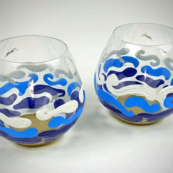 2 Stemless wine glasses, beach wine glasses, hand painted wine glasses, sea gulls, beach wedding gift, beach theme, ocean waves, beach gift
