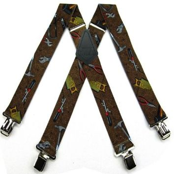 SUS-338-HTBR - Trades Novelty Themed Clip X-BACK Suspenders