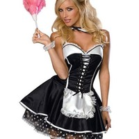 Sexy French Maid Costume 3pc Dress Necktie Head Piece S/M Adult Womens