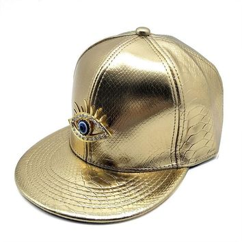 Trendy Winter Jacket Eye Cap Faux Leather Hip Hop Snap Back Hats Flat Brim Snapback Dance Party Cap Fashion Headwear Black Golden Silver AT_92_12
