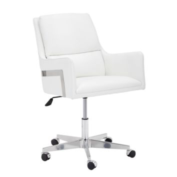 THORES ADJUSTABLE WHITE FAUX LEATHER SEAT AND CUSHIONED SEAT BACK SWIVEL OFFICE CHAIR