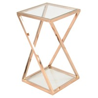 Marcio End Table with Glass, Rose Gold