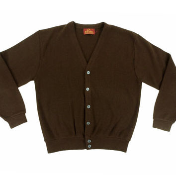 Vintage Brown Cardigan Sweater - V Neck Jumper Preppy Ivy League Menswear - Men's Size Large Lrg L