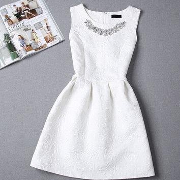 Winter Prom Dress Dress Vest Princess Sleeveless Slim Skirt One Piece Dress [7278860359]
