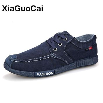 XiaGuoCai 2017 Spring Autumn Lightweight Men Casual Shoes Breathable Low Top Men Canvas Cloth Shoes Denim Footwear X22 65