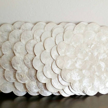 Capiz Shell Placemats | Ivory | Scalloped edges | Made in the Philippines | Beach House | Cottage Decor | Shabby Chic |set 8 | Vintage |1980