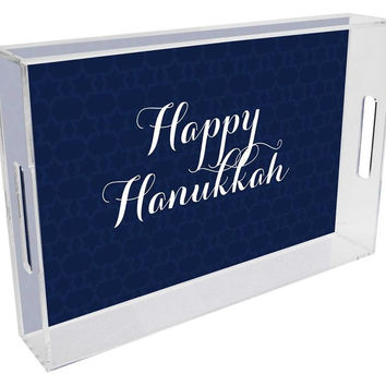 Navy Star of David Lucite Tray