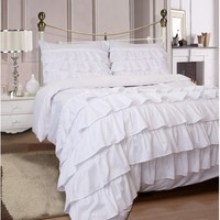 Miley Ruffled 3-Piece Duvet Cover Set Soft Microfiber with Pillow Cases Queen Size- Pure White - Walmart.com