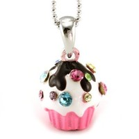 Pink Chocolate Cupcake Pendant Necklace Birthday Party Fashion Jewelry