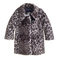 Girls Furry Leopard Coat