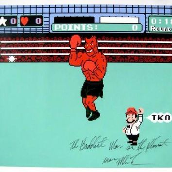 ICIKJNG Mike Tyson Signed Autographed 'The Baddest Man On The Planet' 31x37 Canvas Punch Out (ASI COA)