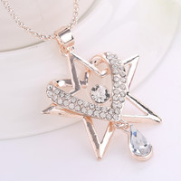 Shiny Gift Jewelry New Arrival Korean Simple Design Stylish Crystal Pendant Luxury Diamonds Women's Fashion Accessory Sweater Chain Necklace [6049395009]