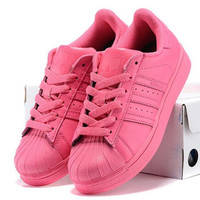 """Adidas"" Fashion Shell-toe Flats Sneakers Sport Shoes Pure color Roses"