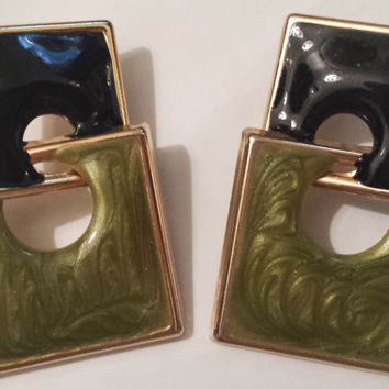 Unique Vintage Geometric Square Enamel Earrings, Black & Green Mod Earrings, Pierced Ears, Gold-tone
