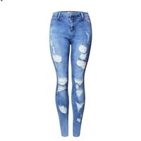 2080 New 2017 Hot Fashion Ladies High Waist Jeans Cotton Denim Pants Stretch Womens Bleach Ripped Skinny Jeans For Female