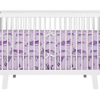 Purple Snowmobiles and Snowflakes Baby Crib Bedding Set from Extremely Stoked Snocross