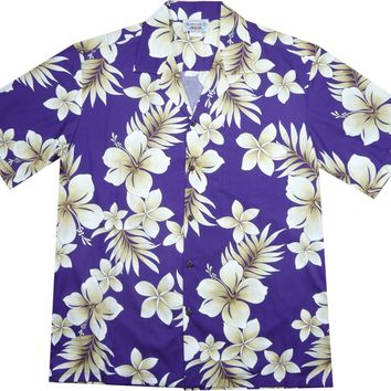 Beachcomber Purple Hawaiian Cotton Aloha Sport Shirt