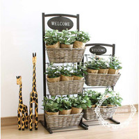 Home Decor Pastoral Style Vintage Iron Rack Storage Basket [6283529670]