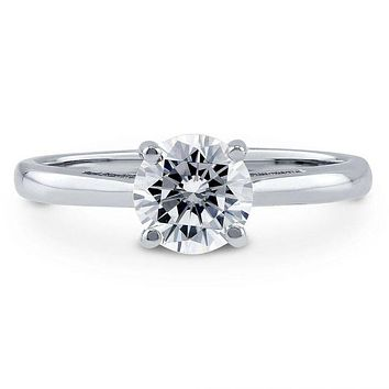 A Perfect 14K White Gold 2CT Round Cut Russian Lab Diamond Solitaire Engagement Ring