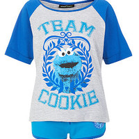 Teens Blue Cookie Monster Pyjama Top and Shorts