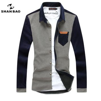 SHAN BAO men's fashion casual long-sleeved shirt corduroy stitching 2017 autumn and winter new self-cultivation lapel shirt