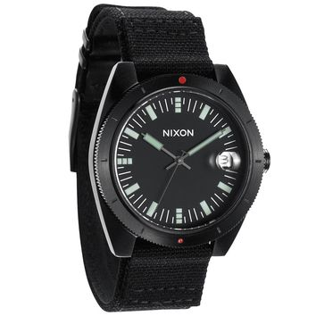 Nixon A355001 Men's The Rover Black Dial Black Canvas & Leather Strap Watch