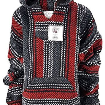 Unisex Mexican Poncho - Baja Hoodie Jacket Sweater - Joe Soft Brushed