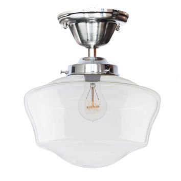 Schoolhouse Clear Glass Nickel Flush Mount Light