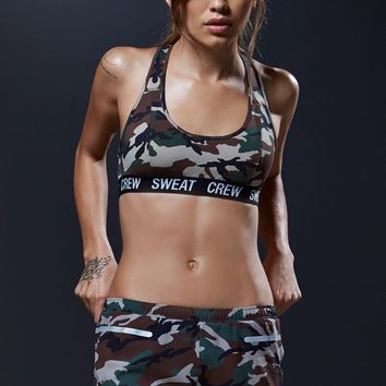 Sweat Crew High Impact Camo Racerback Bralette - Womens Tees - Camo