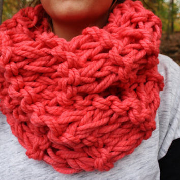 Strawberry Pink Chunky Knitted Circle Scarf with Double Knit Loop Pattern - Cowl Neck Single Loop Scarf, Cozy Pink Neck Warmer