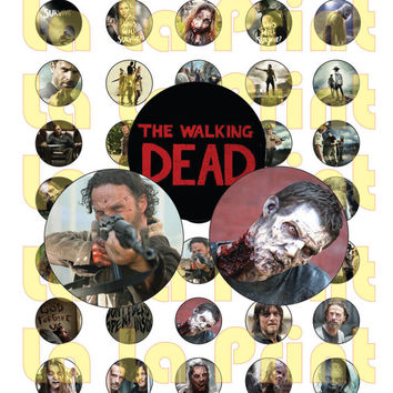 40 Walking Dead Digital Party Stickers Circles size 1'' sheet A4 (8.5''x11'') Bottle Cap images Cupcake Toppers BBC