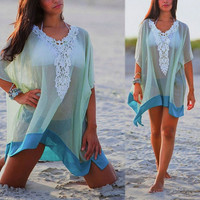 Summer Ladies Lace Crochet Beach Sheer Chiffon Cover Up Kaftan Sarong Swimwear = 1945699524