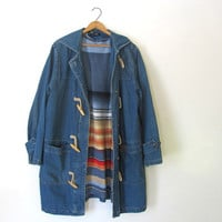vintage denim jean jacket with toggles and hood // S